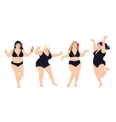 Dancing plus size happy women in black swimming vector