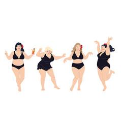 dancing plus size happy women in black swimming vector image