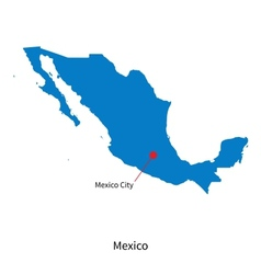 Detailed map of Mexico and capital city Mexico vector