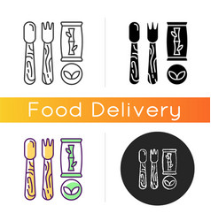 disposable cutlery icon vector image