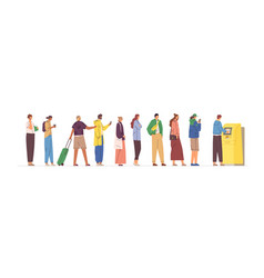 diverse crowd stand in line to atm flat vector image