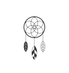 Dream catcher icon of native american with feather vector
