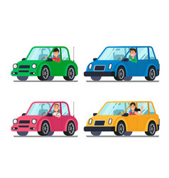 Driver in car men and women drivers in cars vector