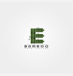 E letter bamboo logo template creative design vector