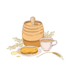 Elegant drawing barrel sweet honey on slice of vector