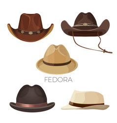 fedora and cowboy hats of brown and beige colors vector image