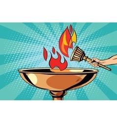 Fire torch bowl of fire vector