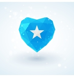 Flag of Somalia in shape diamond glass heart vector