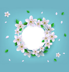 Floral badge with spring white apple or cherry vector