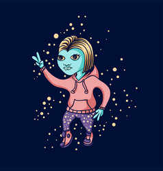 galaxy space dance alien girl vector image