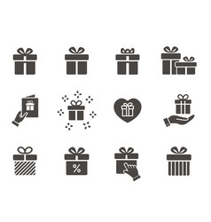 Gift box icon set isolated on white vector