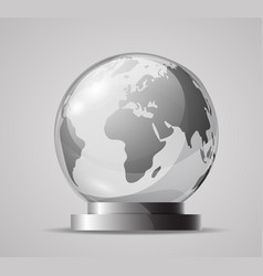 Glass globe on a stand souvenir crystal model of vector