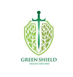 Green shield logo concept vector