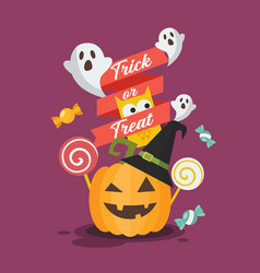 halloween invitation greeting card vector image