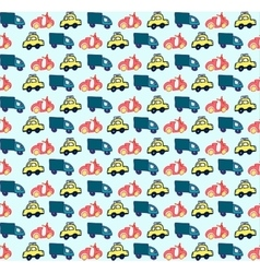 Hand drawn doodle style cars seamless pattern vector