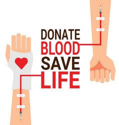 Hand of blood donor with patient for world vector