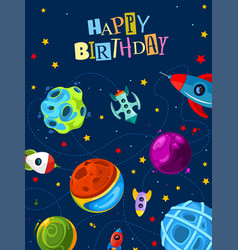 Happy birthday gift card with cute planets and vector
