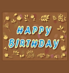 Happy birthday with floral background vector