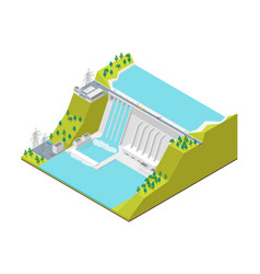 Hydroelectric power station concept 3d isometric vector