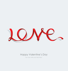 Inscription love made red ribbon vector