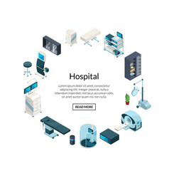 Isometric hospital icons in circle shape vector