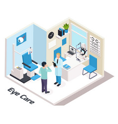isometric ophthalmologists office composition vector image