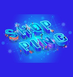 Isometric word shopping on blue tech background vector