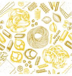 Italian pasta seamless pattern hand drawn food vector