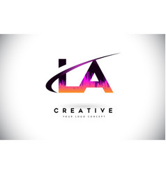 La l a grunge letter logo with purple vibrant vector