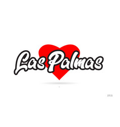 Las palmas city design typography with red heart vector