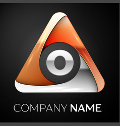 letter o logo symbol in the colorful triangle on vector image