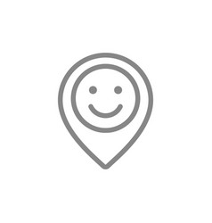 Location mark with happy face line icon customer vector