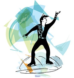 man ice skater skating at colorful sports arena vector image