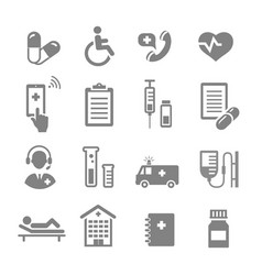 Medical assistance and healthcare icons set vector