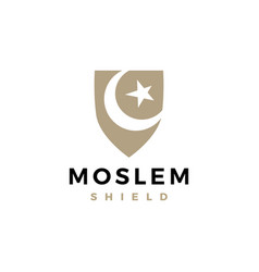 Moslem muslim shield crescent star logo icon vector