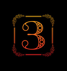 Number 3 with ornament vector
