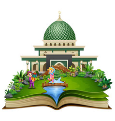 Open book with islamic mosque in the park muslim vector