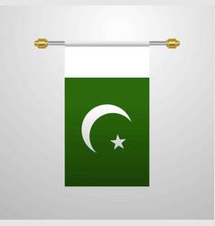 Pakistan hanging flag vector