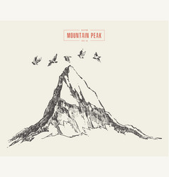 Peak mountain irds flying over drawn sketch vector