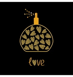 Perfume bottle with hearts inside Gold sparkles vector image