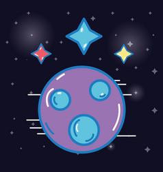 Planet with stars cosmos in the galaxy space vector