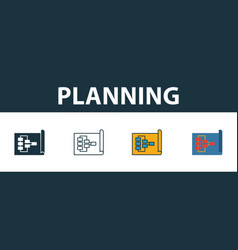 planning icon set four simple symbols in different vector image