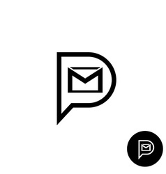 pm letters logo private message abbreviation vector image