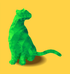 poly animal cat sitting colored green polygonal vector image