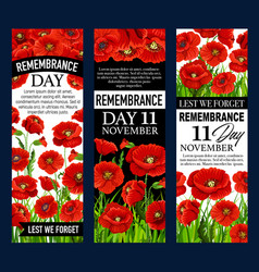 Poppy flower banner for remembrance day design vector