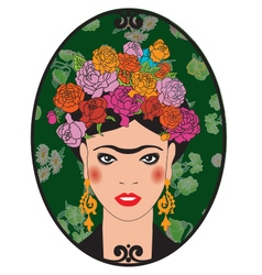 Portrait of a girl with flowers in her hair vector