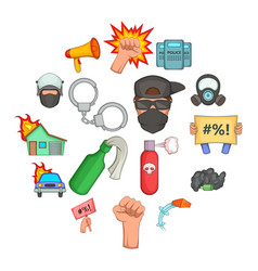 protest items icons set cartoon style vector image