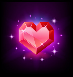 red heart gemstone garnet or ruby in shape vector image