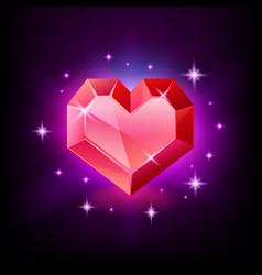 red heart gemstone garnet or ruin shape of vector image
