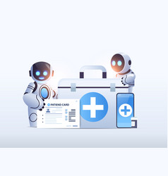 Robotic doctors with first aid medical kit and vector